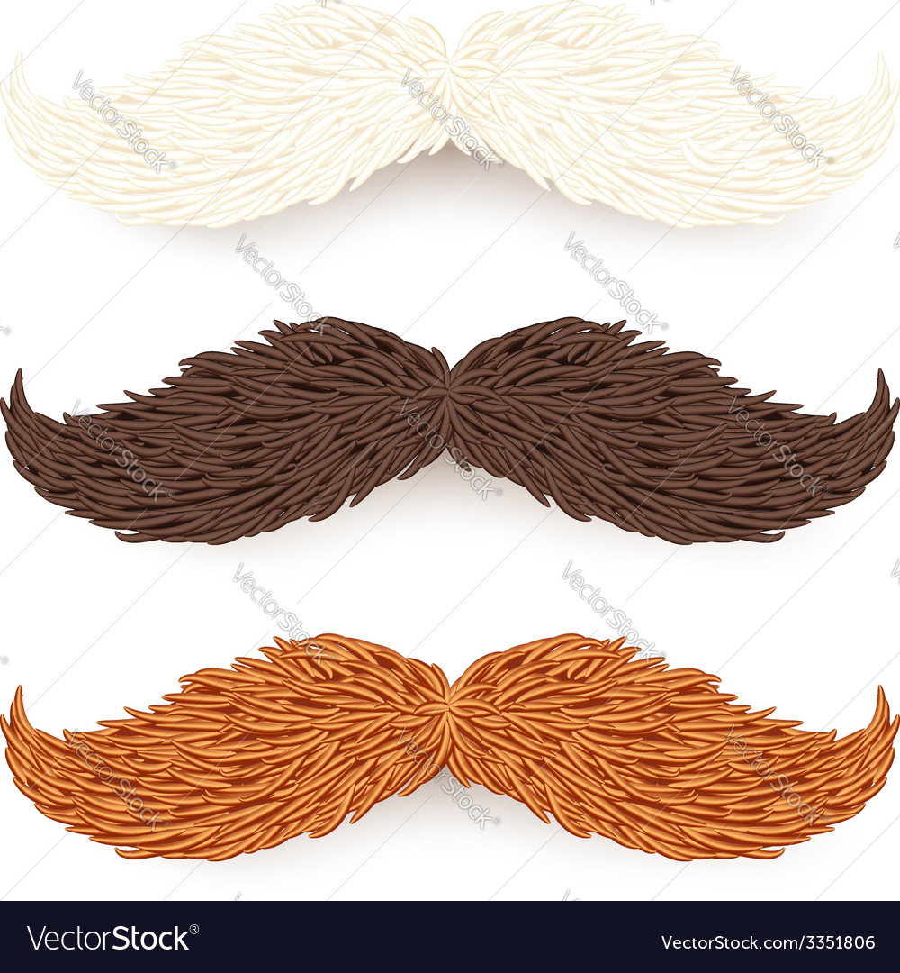 White brown and red isolated mustaches set vector | Price: 3 Credit (USD $3)