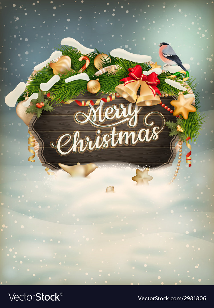 Wooden banner with christmas fur-tree branches vector | Price: 5 Credit (USD $5)