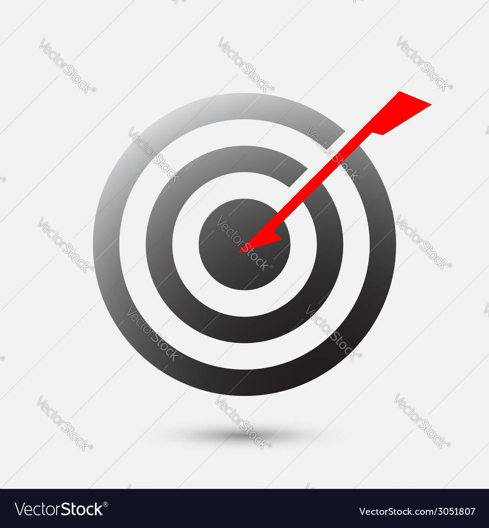 Arrow hit bulls eye on target - business goal vector | Price: 1 Credit (USD $1)