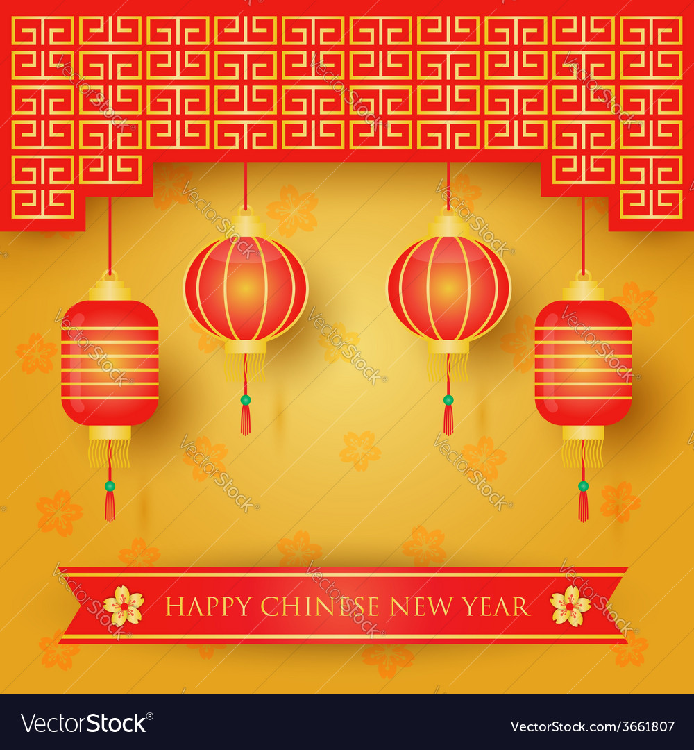 Chinese new year decoration background vector | Price: 1 Credit (USD $1)