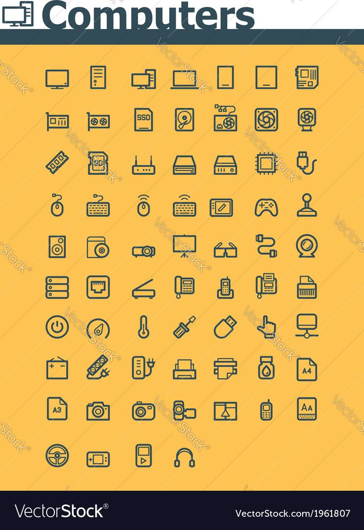 Computer icon set vector   Price: 1 Credit (USD $1)
