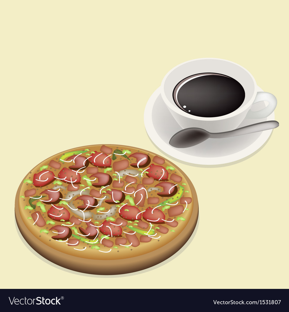 Delicious deluxe pizza on dish with hot coffee vector | Price: 1 Credit (USD $1)