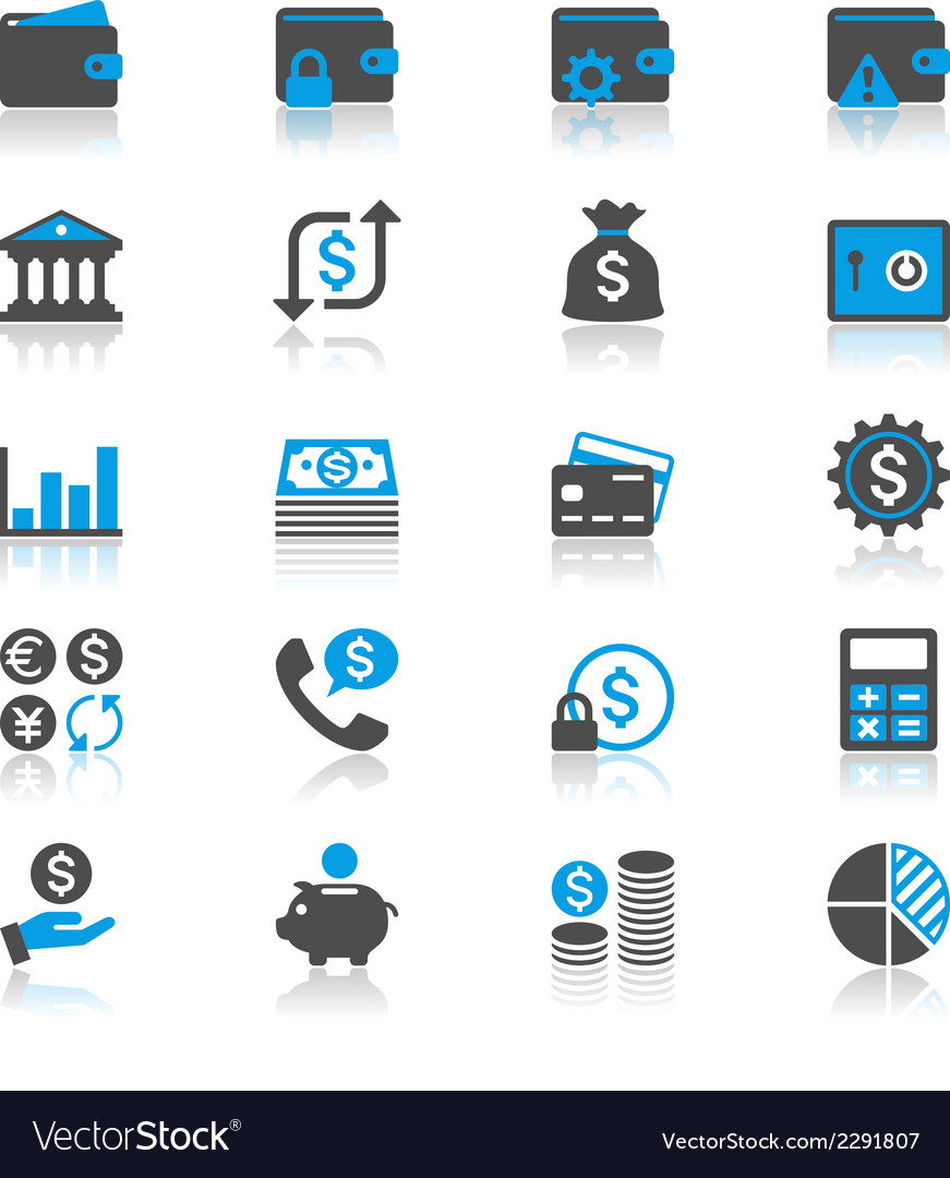 Financial management flat with reflection icons vector | Price: 1 Credit (USD $1)