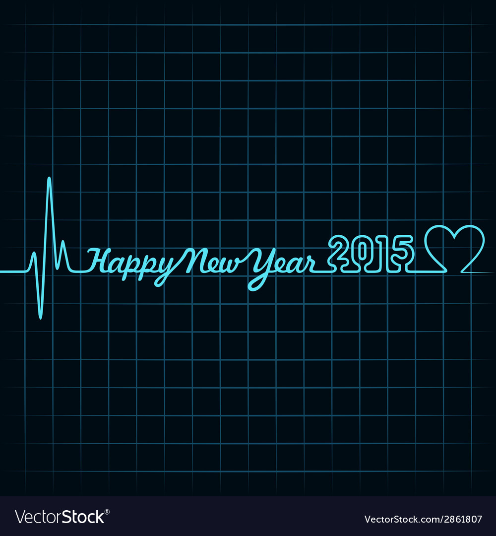 Heartbeat make happy new year text vector | Price: 1 Credit (USD $1)