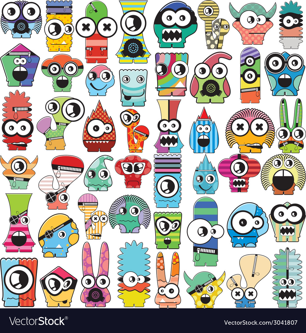 Monsters - set vector | Price: 1 Credit (USD $1)