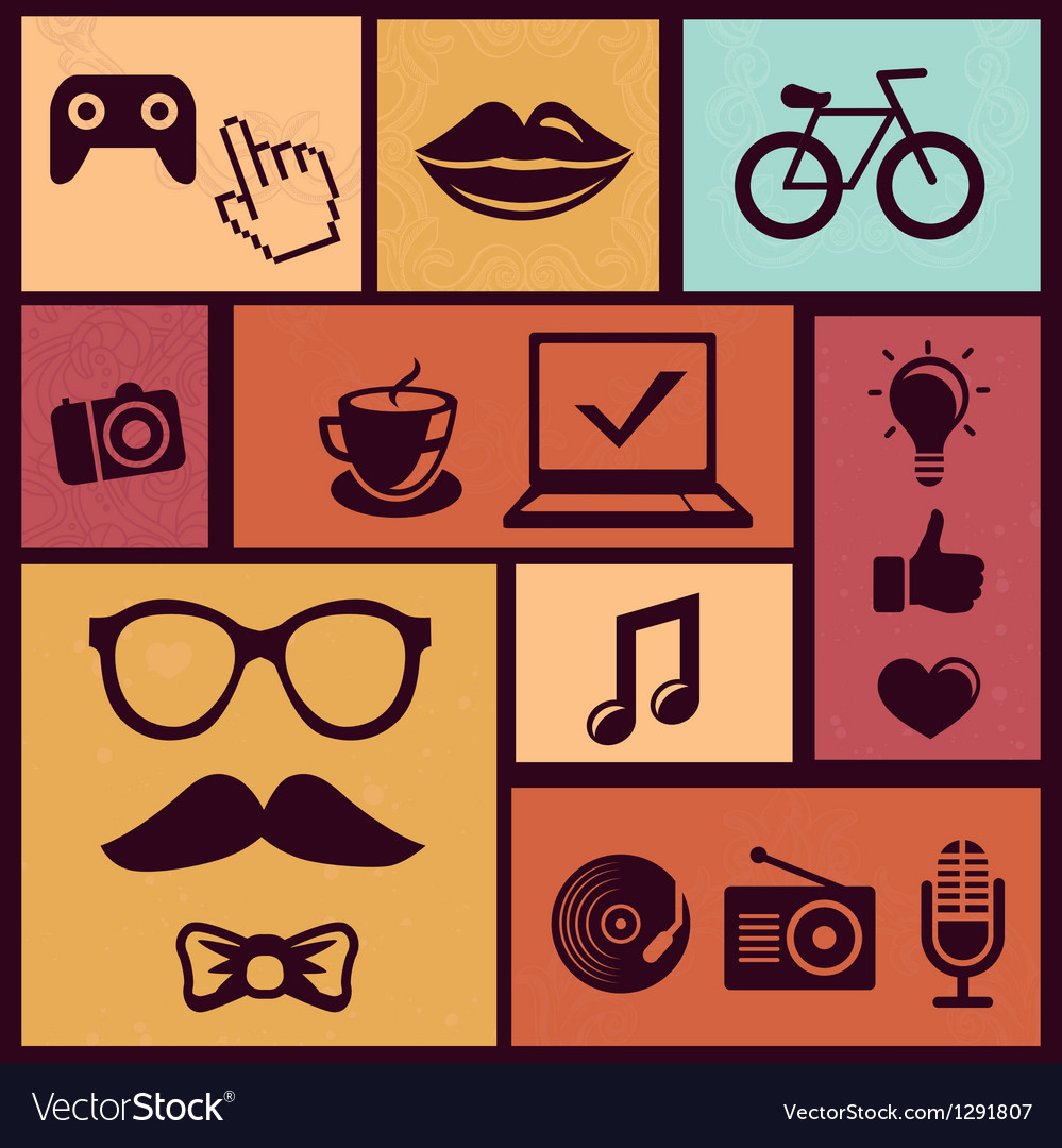 Set with trendy hipster icons and design element i vector | Price: 1 Credit (USD $1)