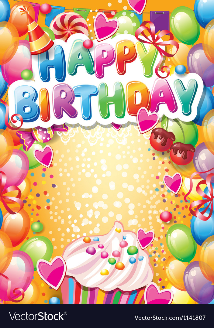 Template for happy birthday card with place for vector | Price: 3 Credit (USD $3)