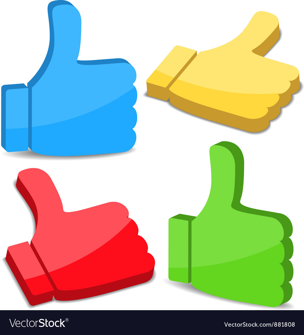 3d thumbs up icons vector | Price: 1 Credit (USD $1)