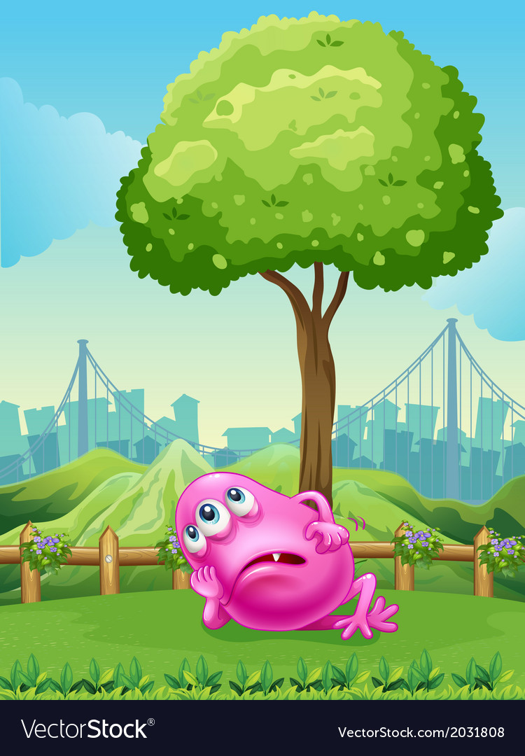 A tired pink monster under the tree vector | Price: 3 Credit (USD $3)