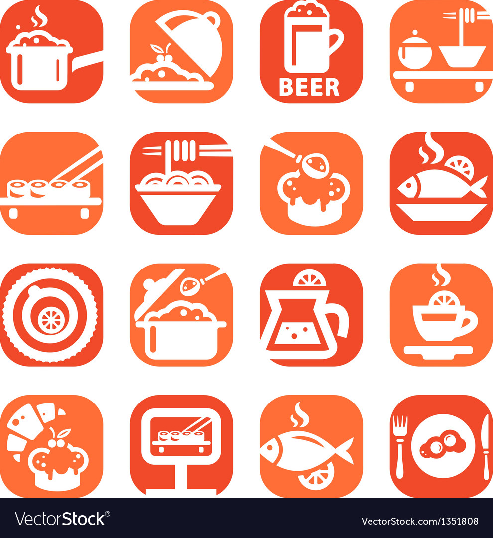 Color food icon set vector | Price: 1 Credit (USD $1)