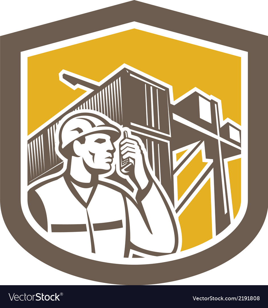 Dock worker on phone container yard shield vector | Price: 1 Credit (USD $1)