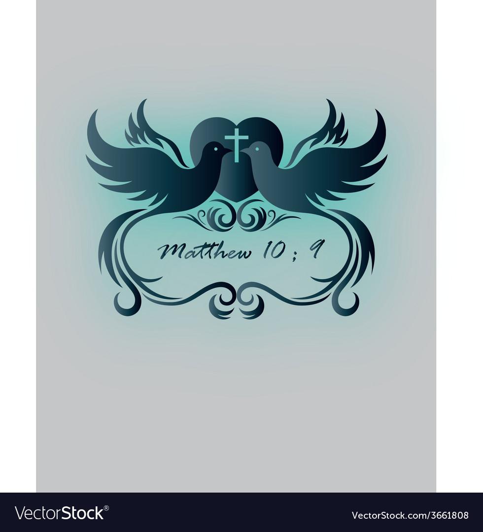 Dove and cross invitation vector | Price: 1 Credit (USD $1)