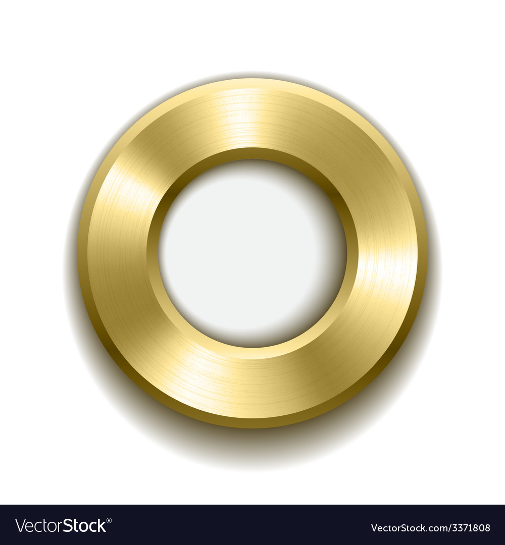 Gold donut button template with metal texture vector | Price: 1 Credit (USD $1)