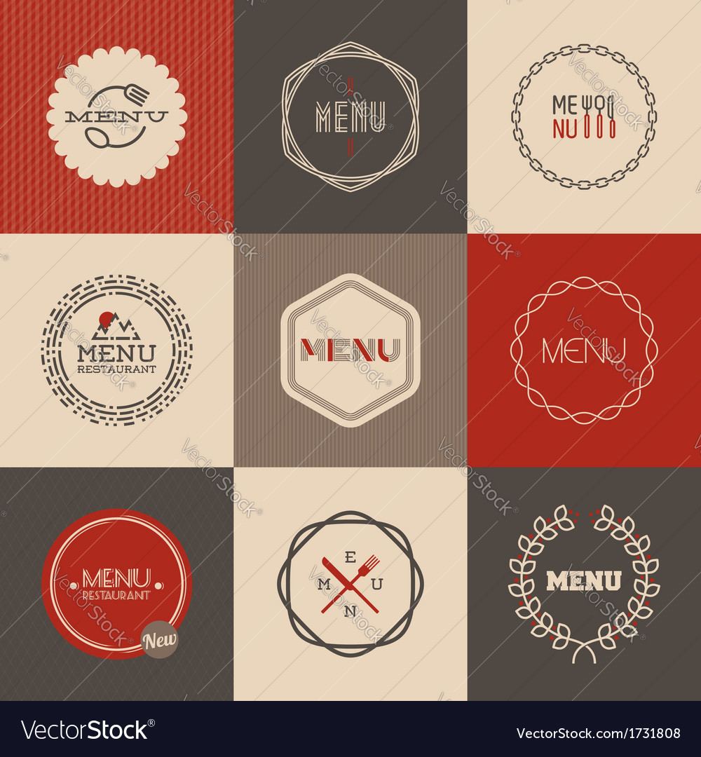 Labels set for restaurant menu design vector | Price: 1 Credit (USD $1)