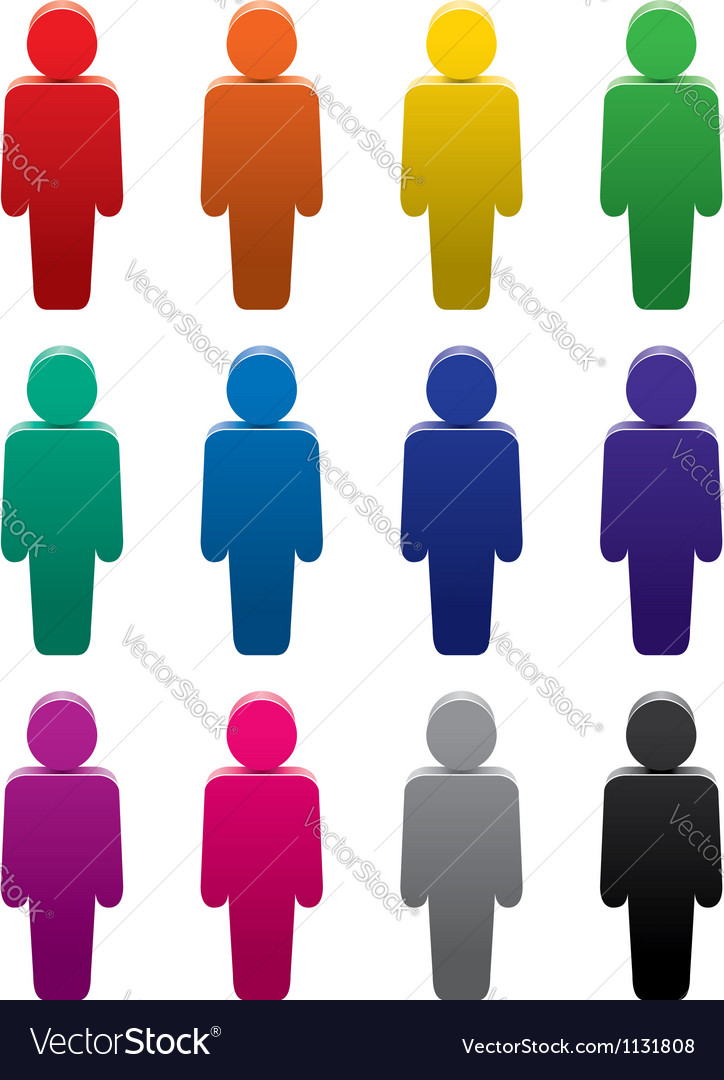 People stand color symbols set vector | Price: 1 Credit (USD $1)