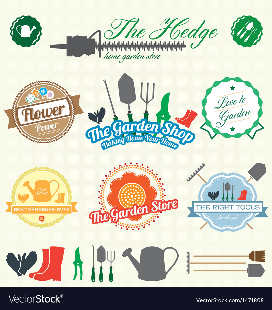 Retro garden shop labels and icons vector | Price: 1 Credit (USD $1)