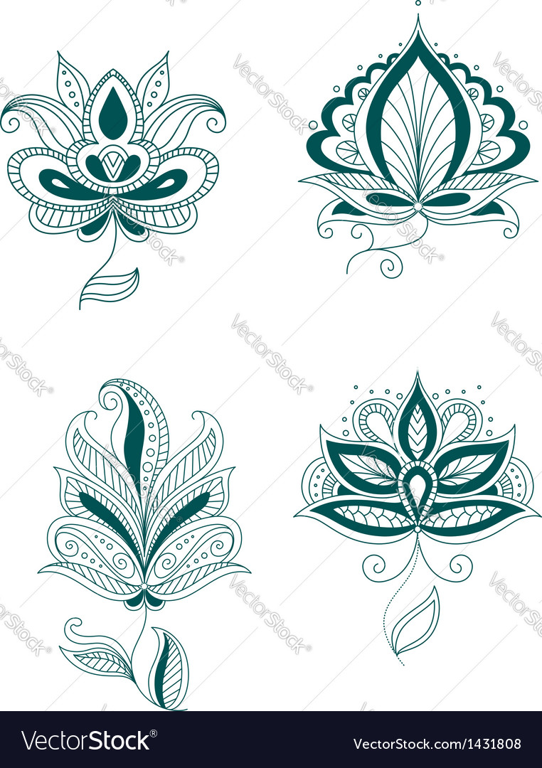 Set of abstract persian or indian flowers vector | Price: 1 Credit (USD $1)