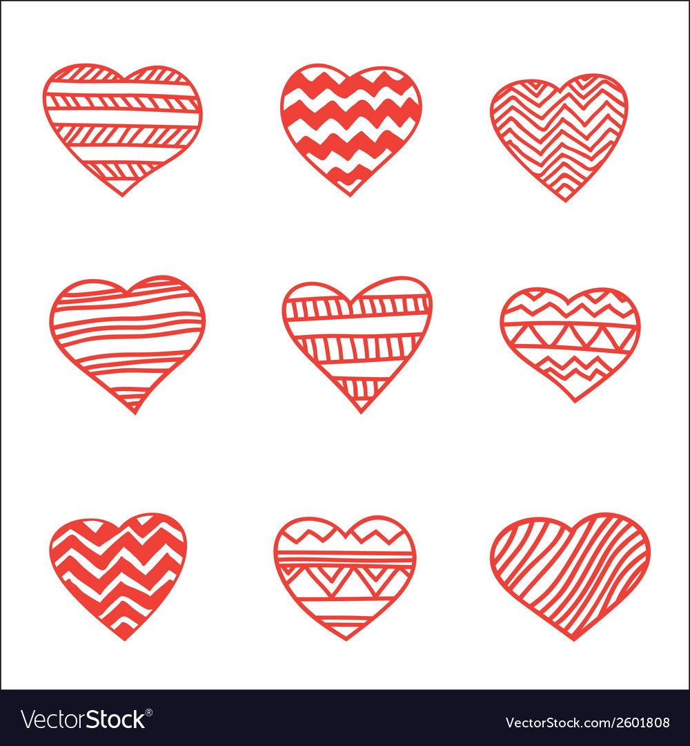Set of nine hand drawn hearts vector | Price: 1 Credit (USD $1)