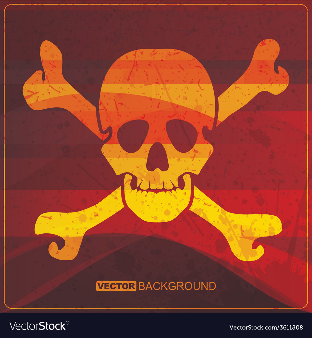 Skull on grunge background vector