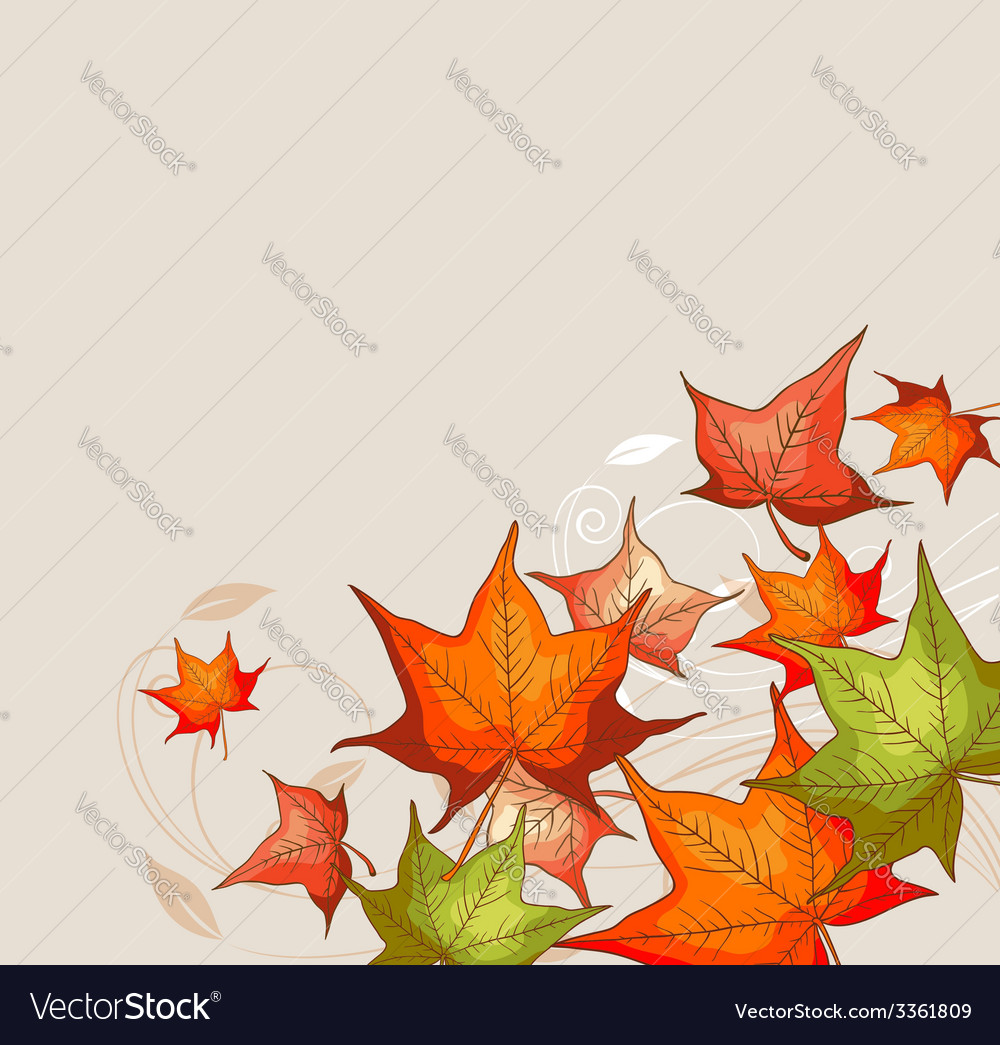 Autumn background with red and orange maple leaves vector | Price: 1 Credit (USD $1)