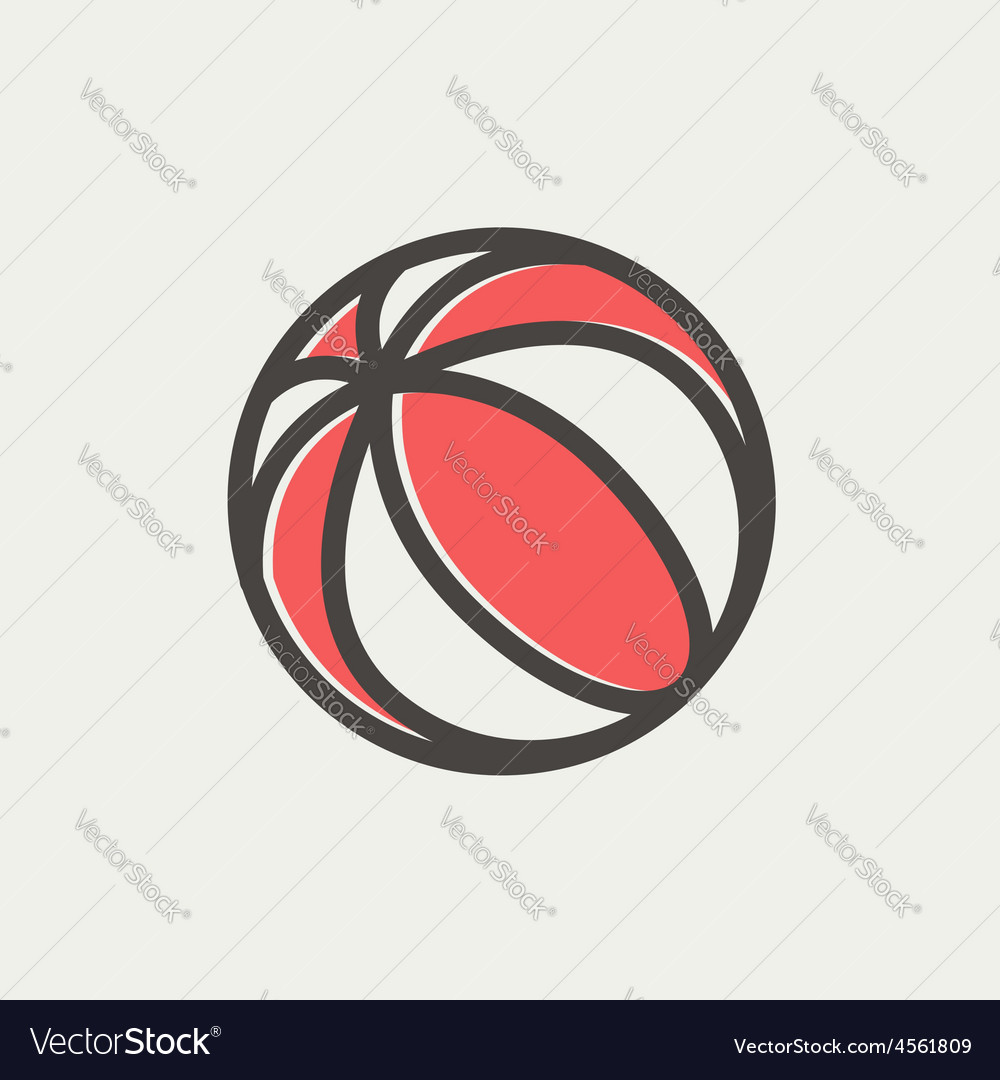 Beach ball thin line icon vector