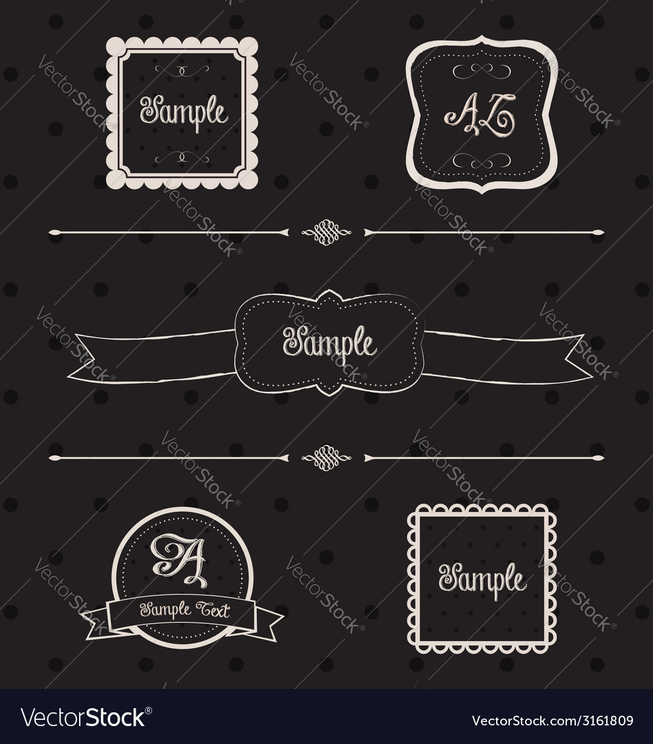 Blackboard frames and design elements vector | Price: 1 Credit (USD $1)