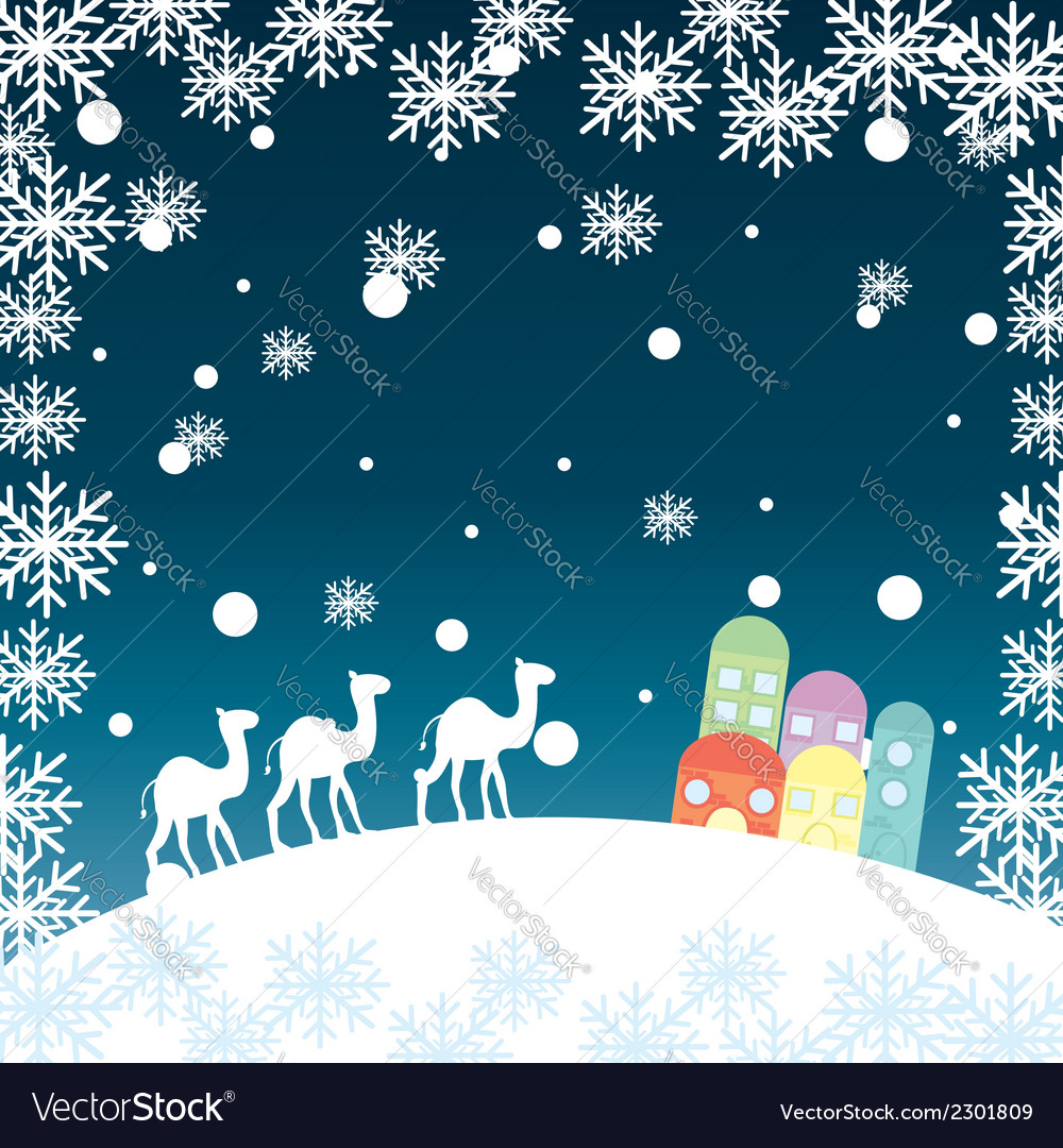 Christmas landscape with camels snowflakes and hou vector | Price: 1 Credit (USD $1)