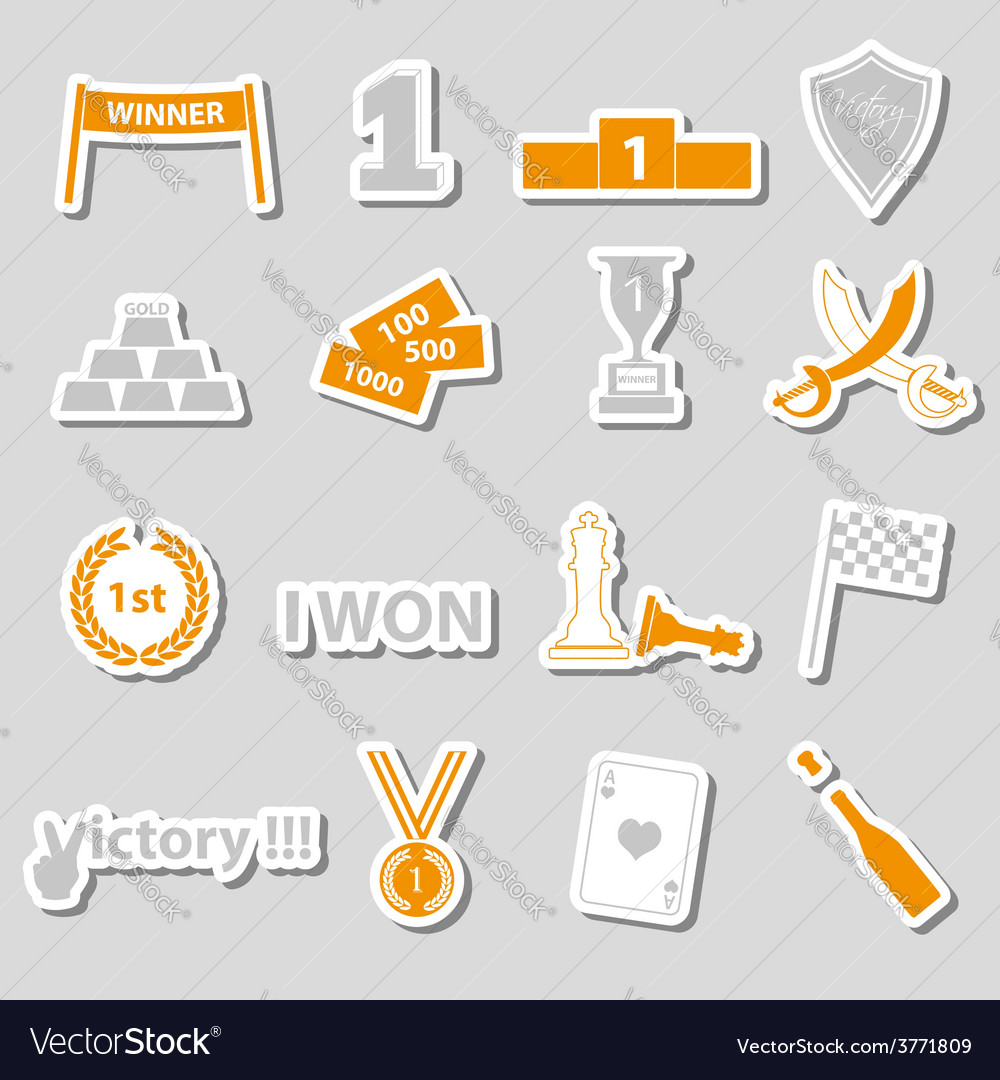 Flawless victory symbols set of color stickers vector | Price: 1 Credit (USD $1)