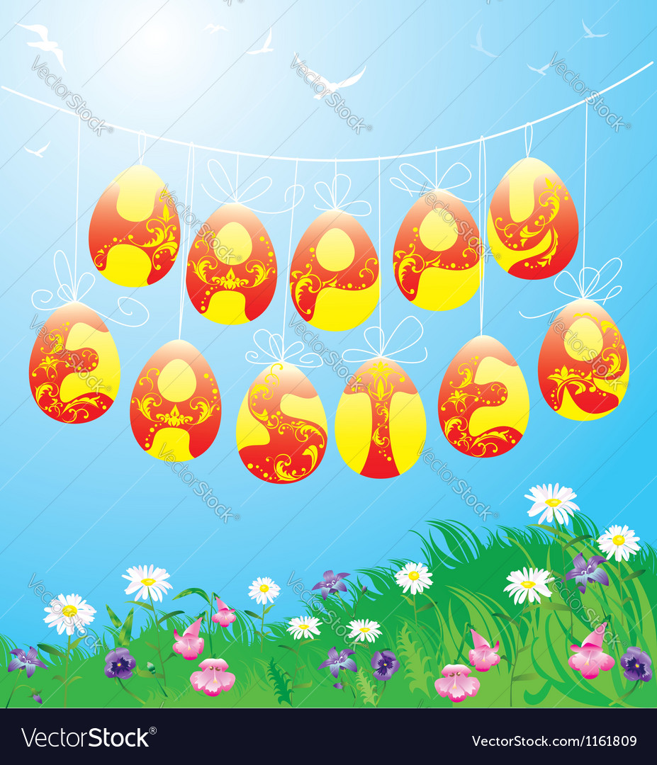 Hanging easter eggs on spring blue sky background vector | Price: 1 Credit (USD $1)