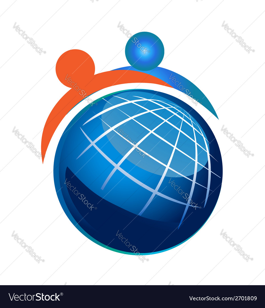 People and globe icon vector | Price: 1 Credit (USD $1)
