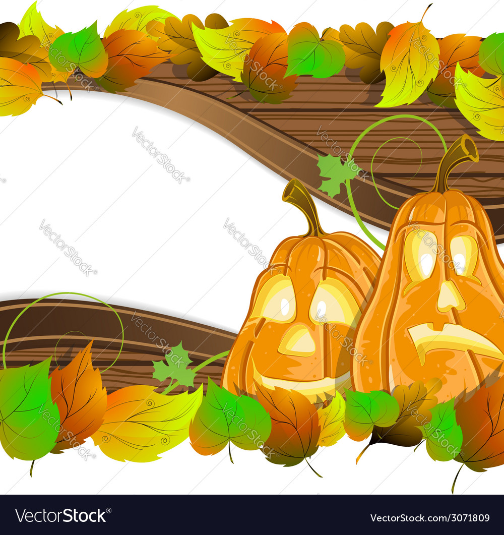 Pumpkin heads on wooden background vector | Price: 1 Credit (USD $1)
