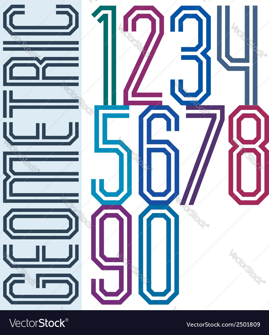 Retro colorful tall geometric numbers with vector | Price: 1 Credit (USD $1)