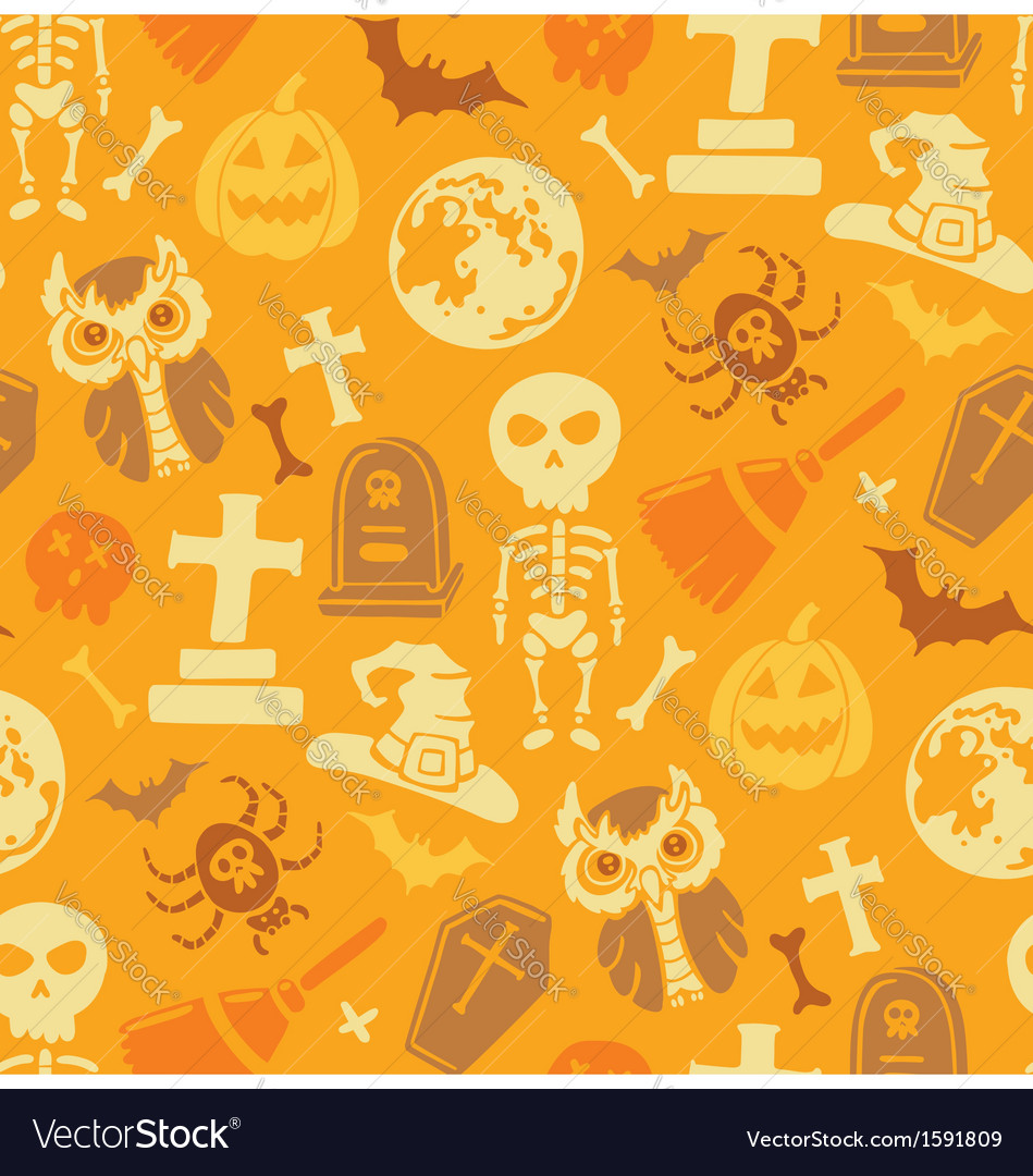 Seamless pattern with halloween objects vector | Price: 1 Credit (USD $1)
