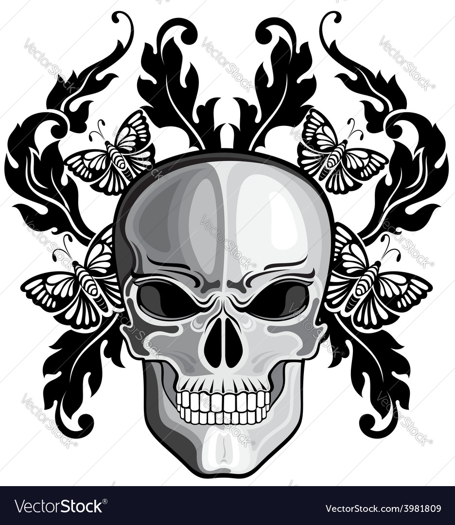 Skulls with floral patterns vector | Price: 1 Credit (USD $1)