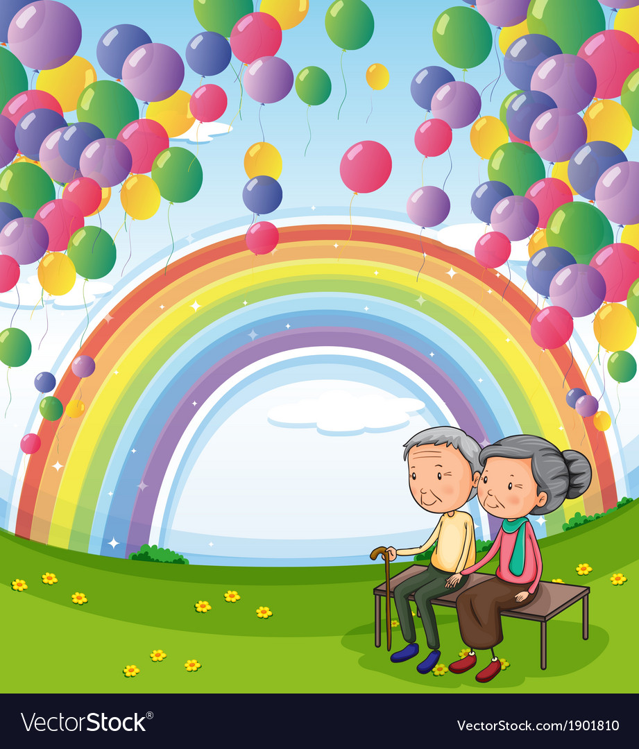An old couple below the floating balloons and the vector | Price: 3 Credit (USD $3)