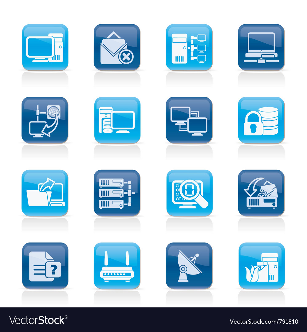Computer network and internet icons vector | Price: 1 Credit (USD $1)