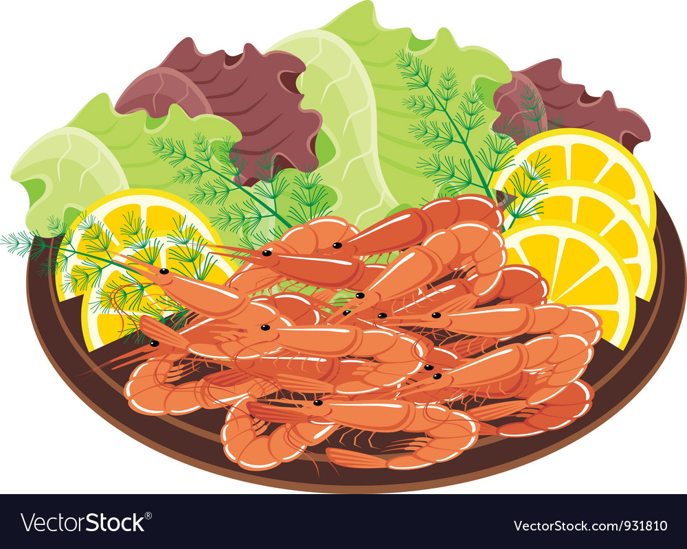 Dish from shrimps and vegetables vector | Price: 1 Credit (USD $1)