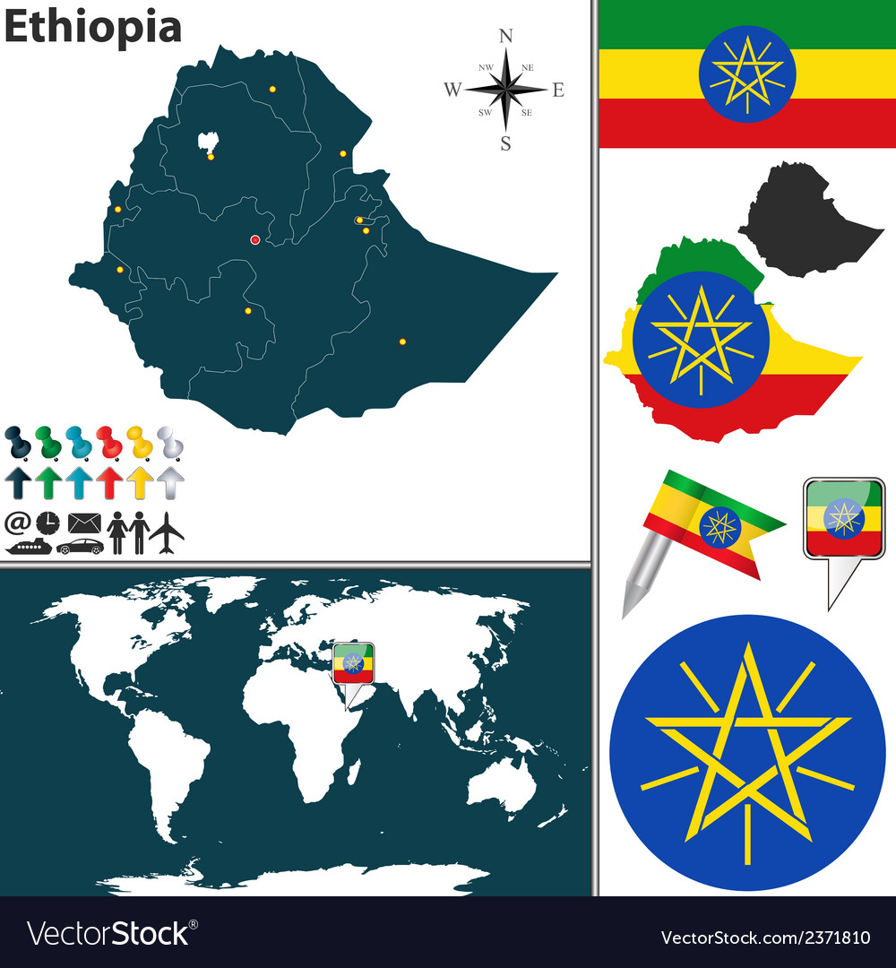 Ethiopia map vector | Price: 1 Credit (USD $1)