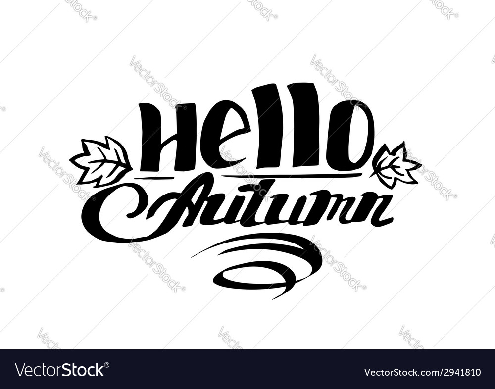 Hello autumn hand drawn lettering vector | Price: 1 Credit (USD $1)