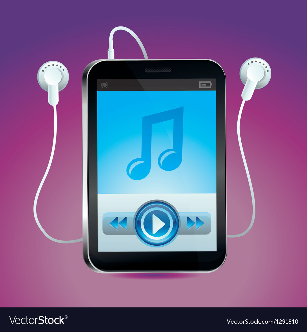 Music player with touchscreen and play button vector | Price: 1 Credit (USD $1)