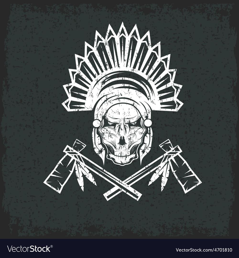 Native american chief skull in tribal headdress vector   Price: 1 Credit (USD $1)