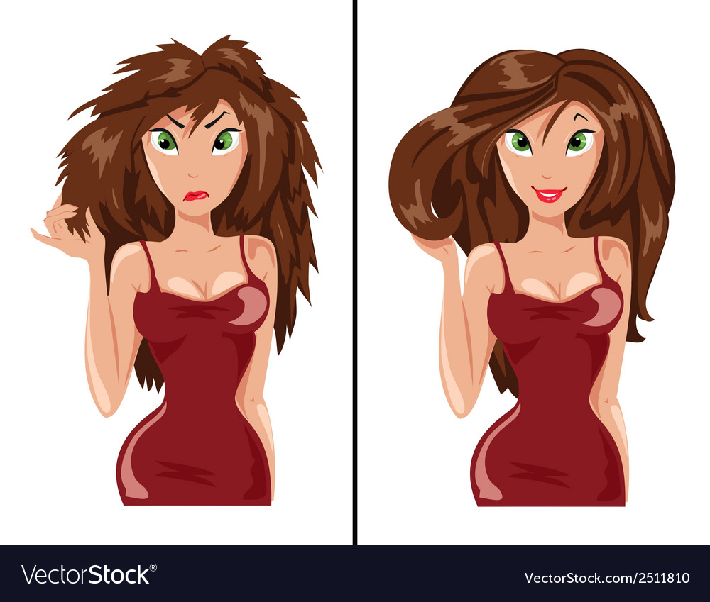 Patients and healthy hair vector | Price: 1 Credit (USD $1)