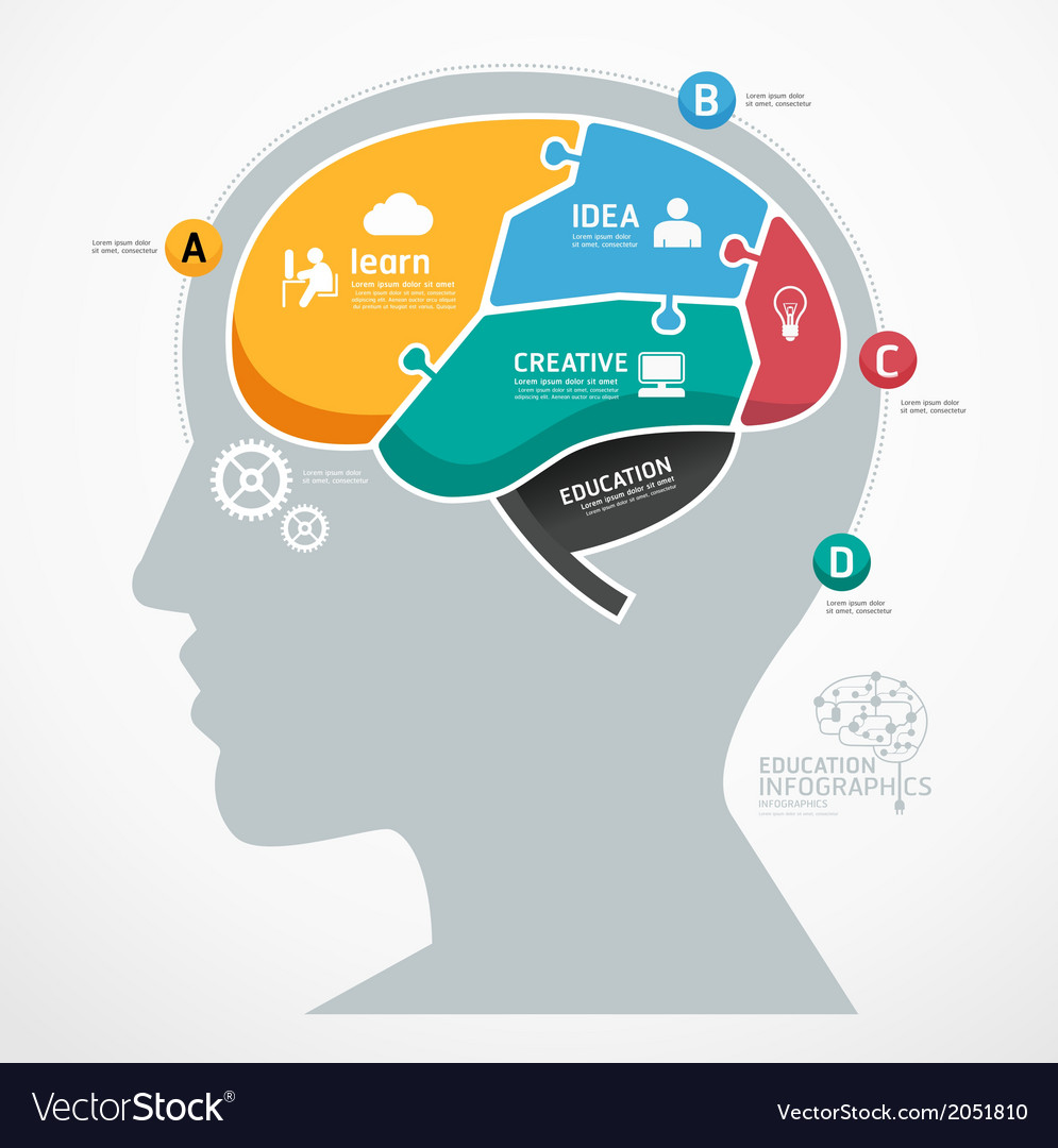 Puzzle jigsaw abstract human brain infographic vector | Price: 1 Credit (USD $1)
