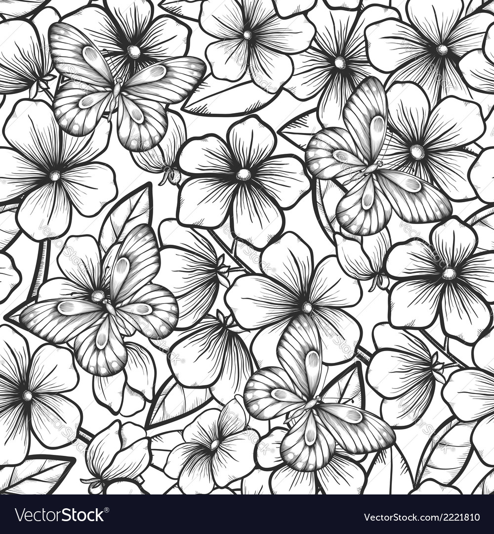 Seamless with branches of flowering trees vector | Price: 1 Credit (USD $1)