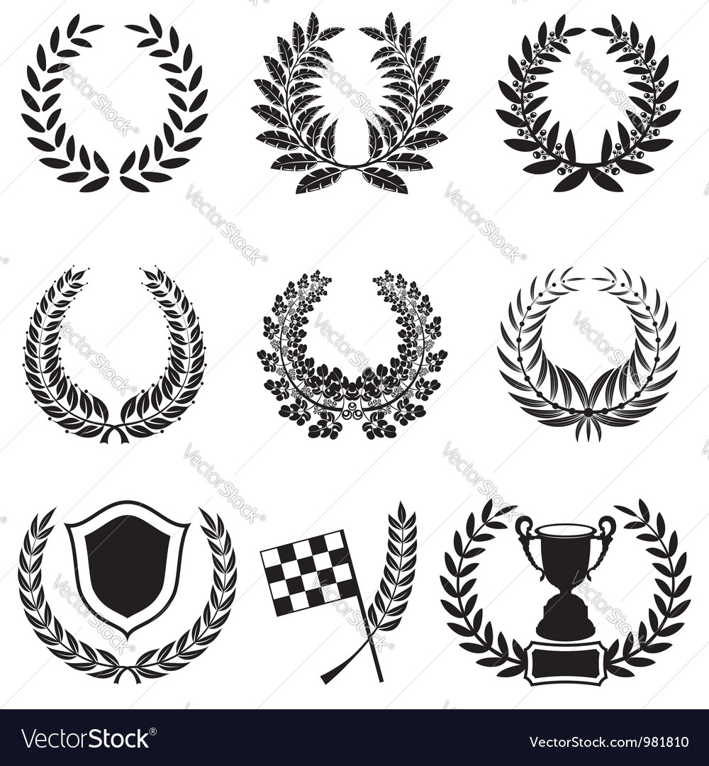 Set of laurel wreaths vector | Price: 1 Credit (USD $1)