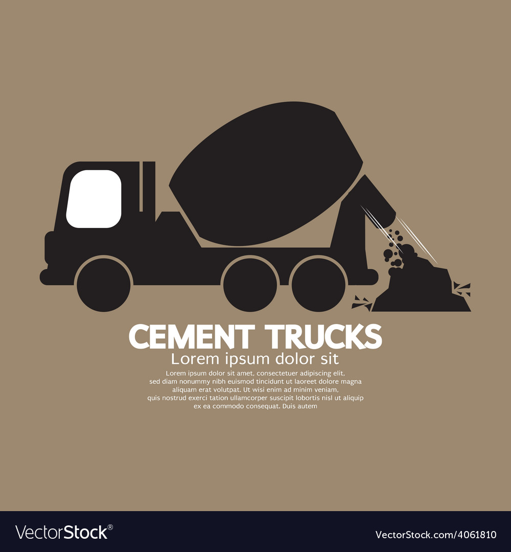 Single black cement mixer trucks vector | Price: 1 Credit (USD $1)