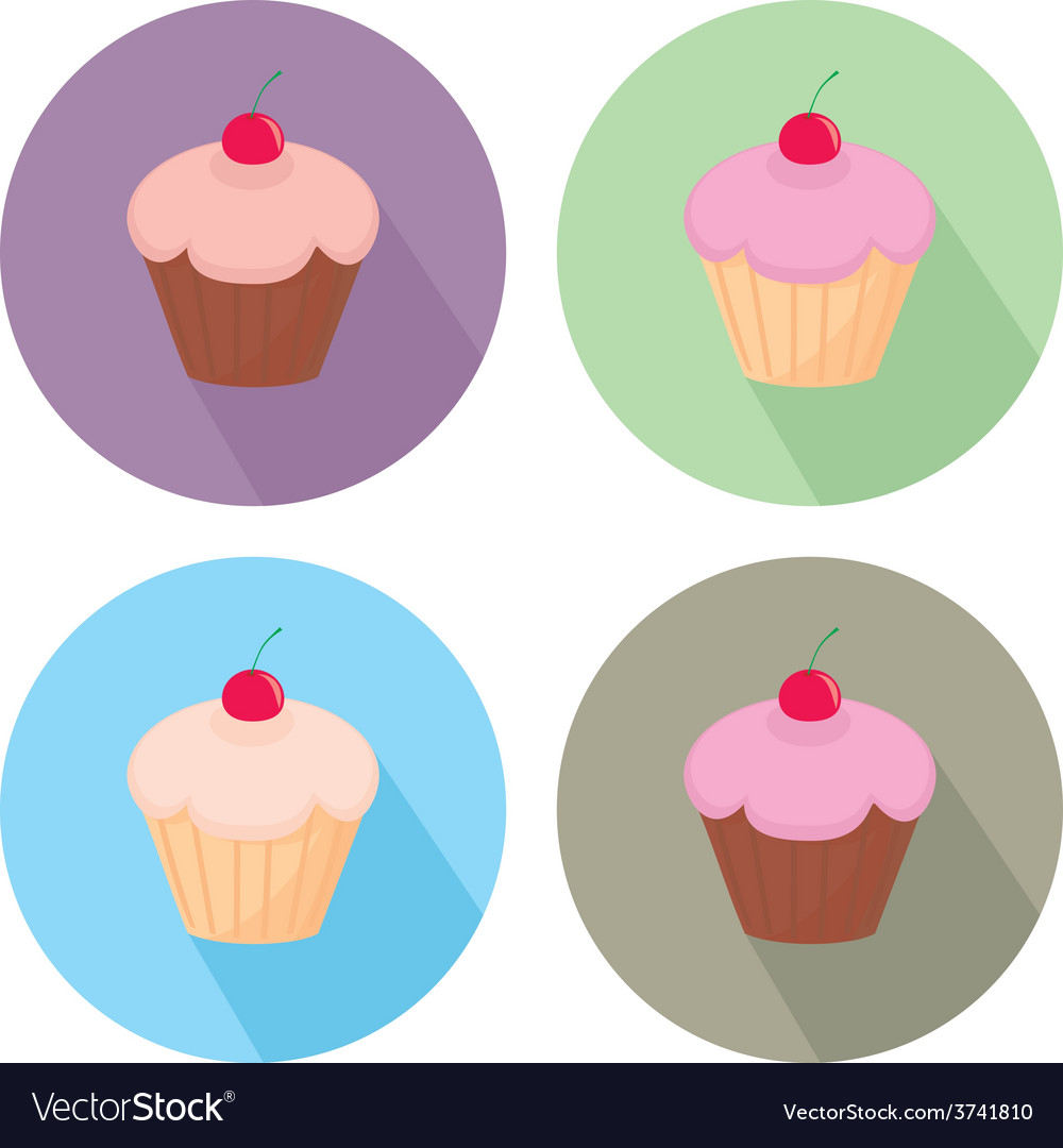 Sweet cake flat icon set isolated on white vector | Price: 1 Credit (USD $1)