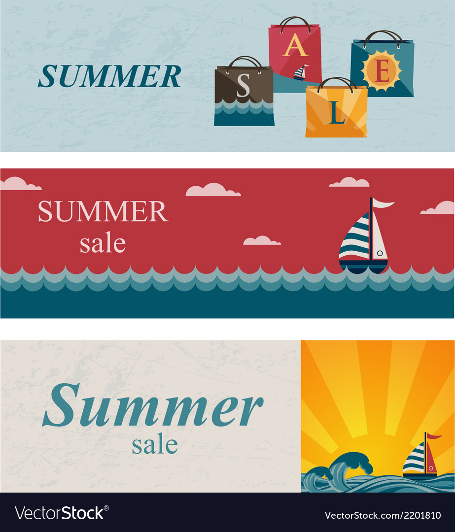 Three summer sale banners vector | Price: 1 Credit (USD $1)