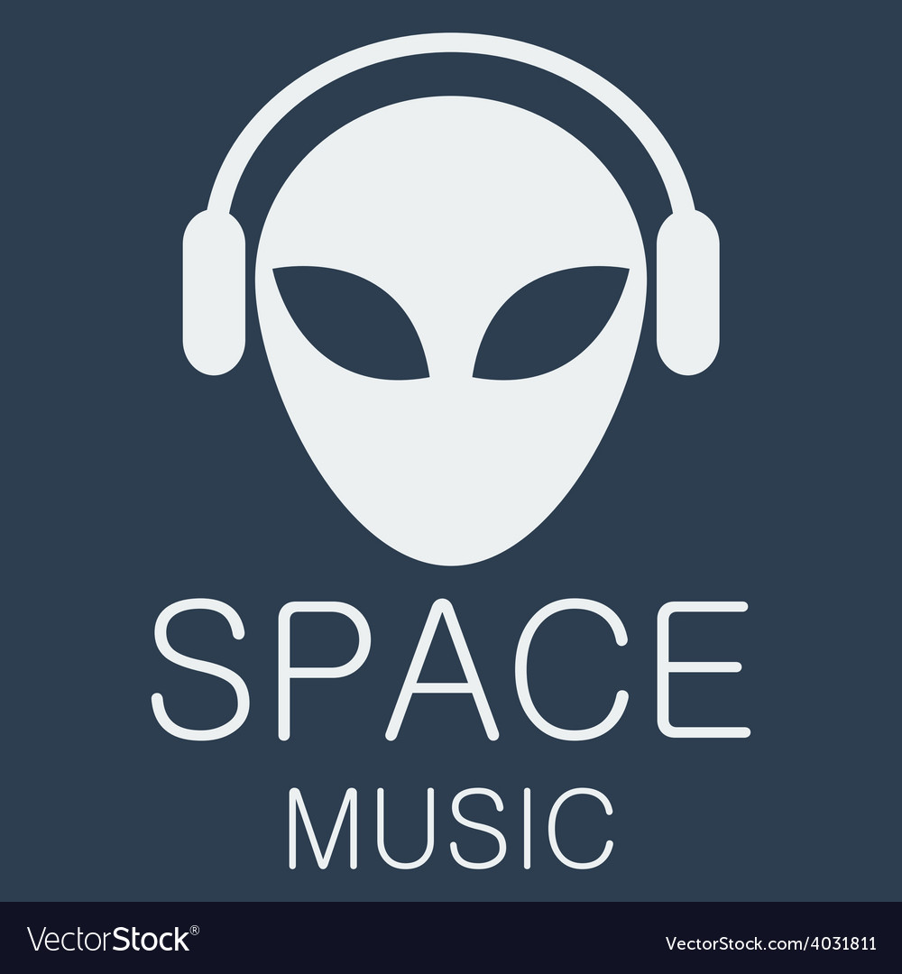 Alien in headphones on blue background vector | Price: 1 Credit (USD $1)