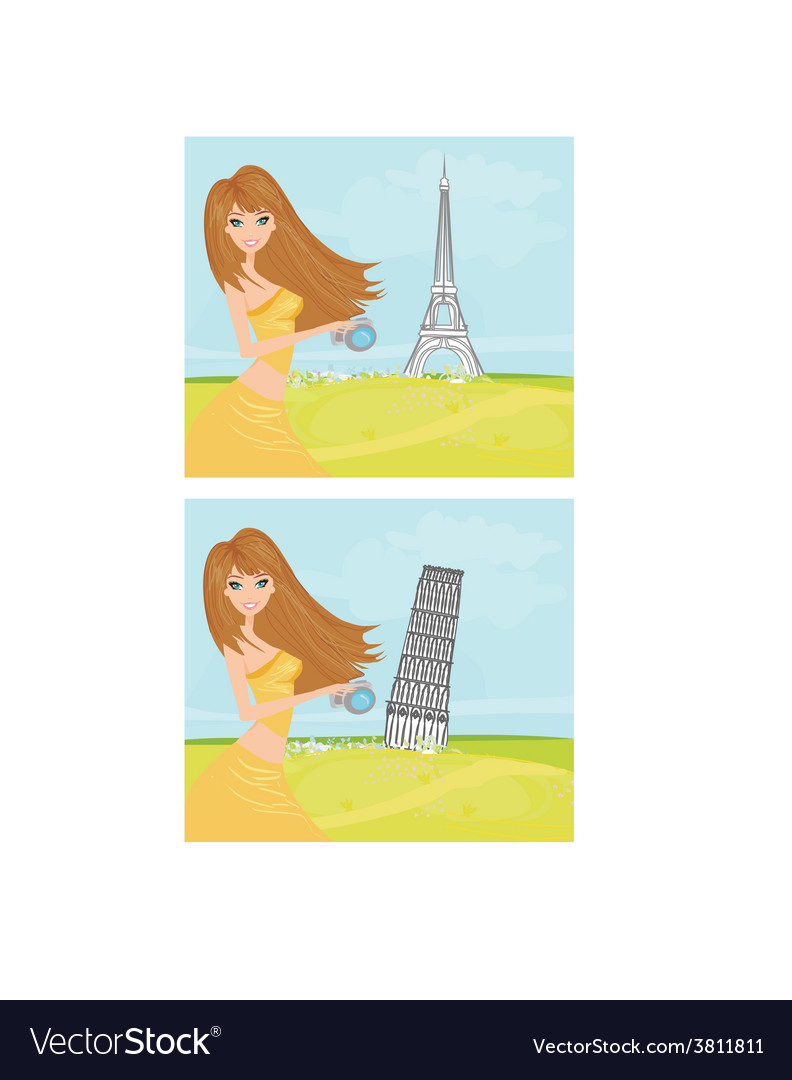 Beauty travel girl in france and italy vector | Price: 1 Credit (USD $1)